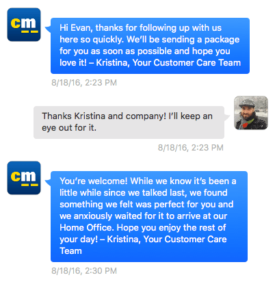 "Direct message conversation from Kristina at CarMax to oddevan: ""While we know it's been a little while since we talked last, we found something we felt was perfect for you and we anxiously waited for it to arrive at our Home Office."""