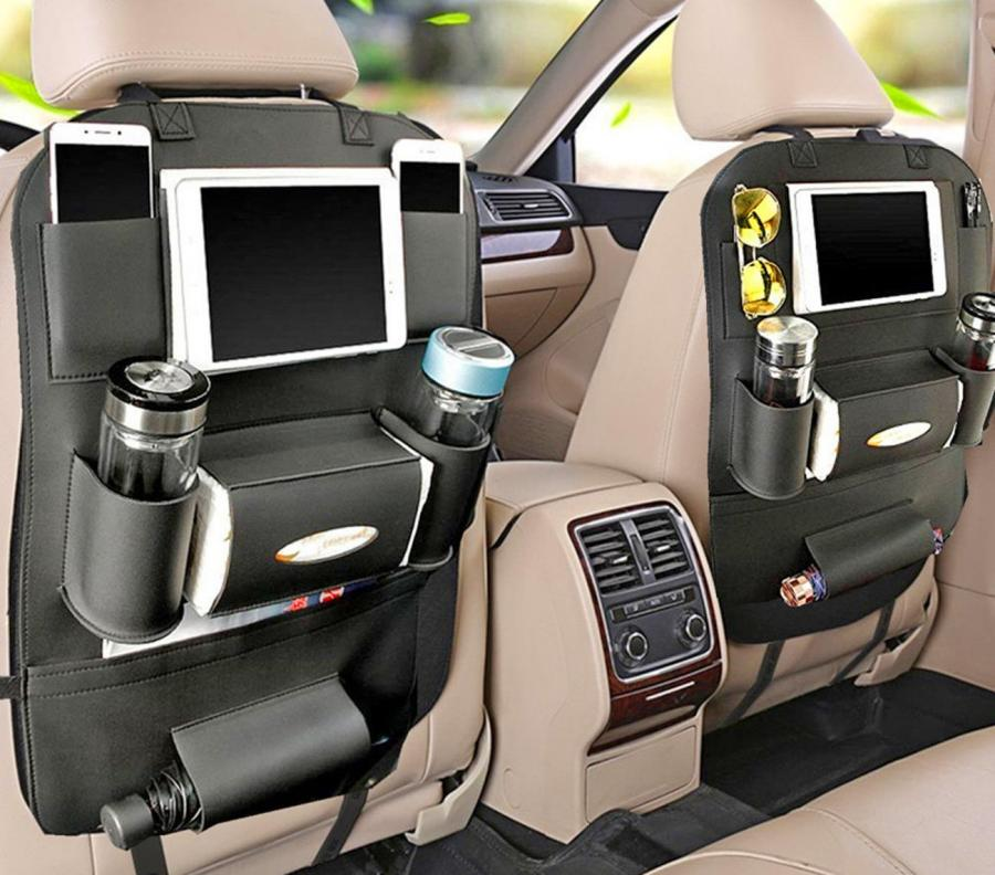Backseat Car Organizer Holds Tablets Drinks Tissues And