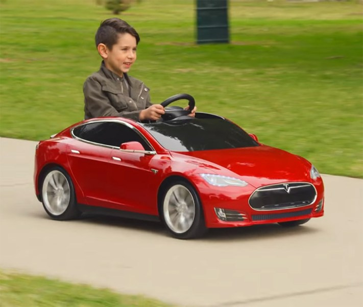Mini Tesla Model S Kid s Toy Car     up with Radio Flyer  the company that makes those classic metal red  wagons  to make a mini Tesla kids toy that s a fully electric ride able toy  car