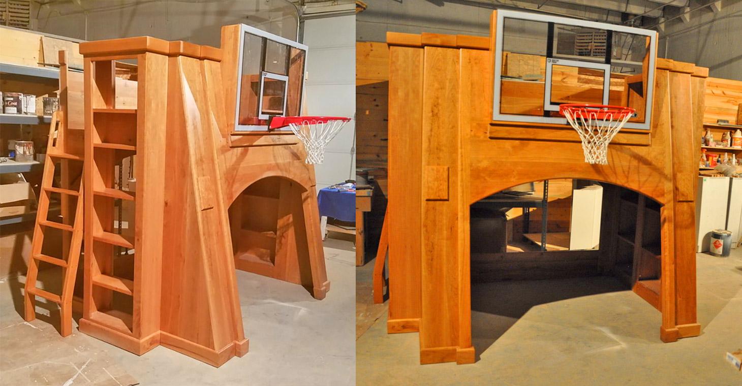 basketball hoop bunk bed