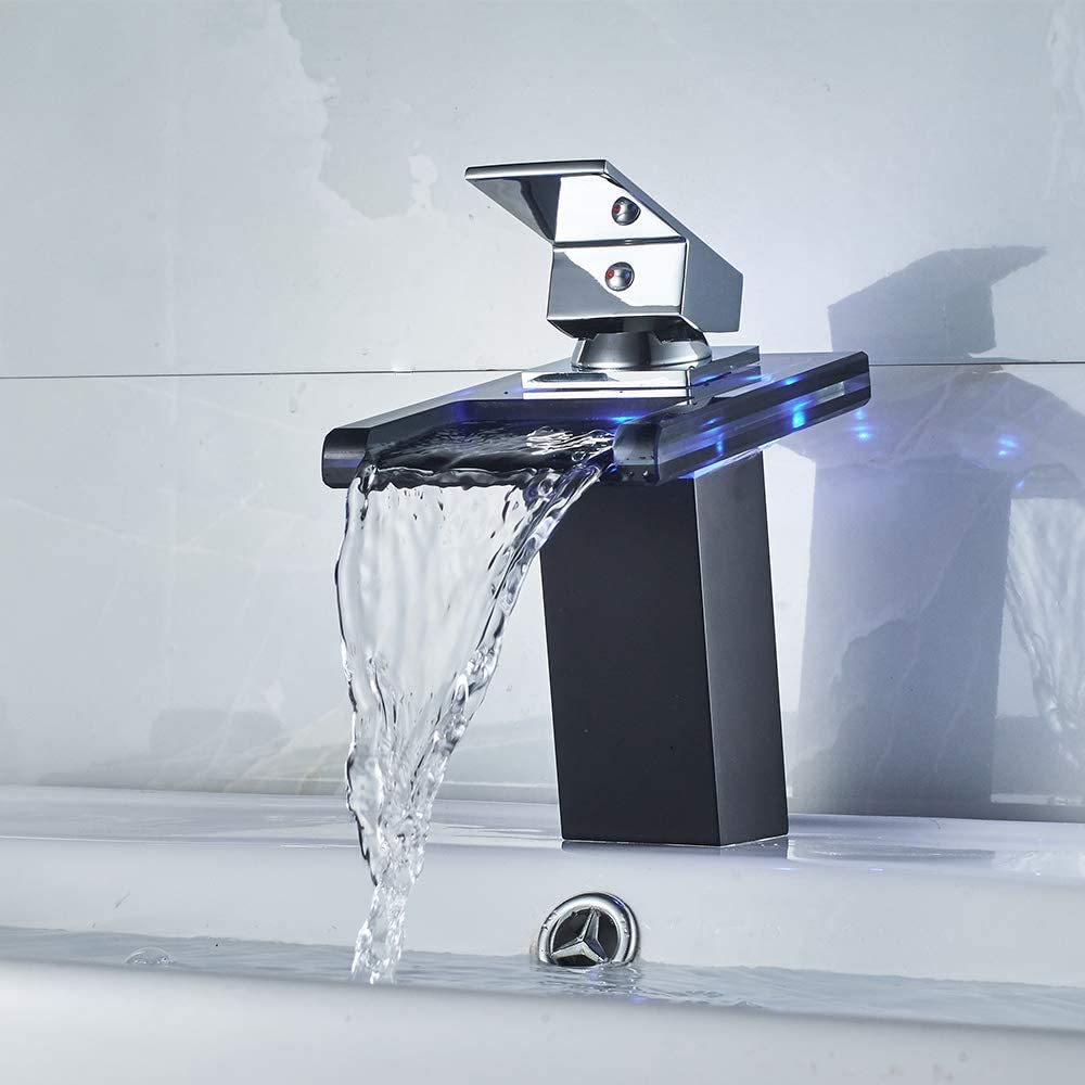 led bath faucet shows you if the water