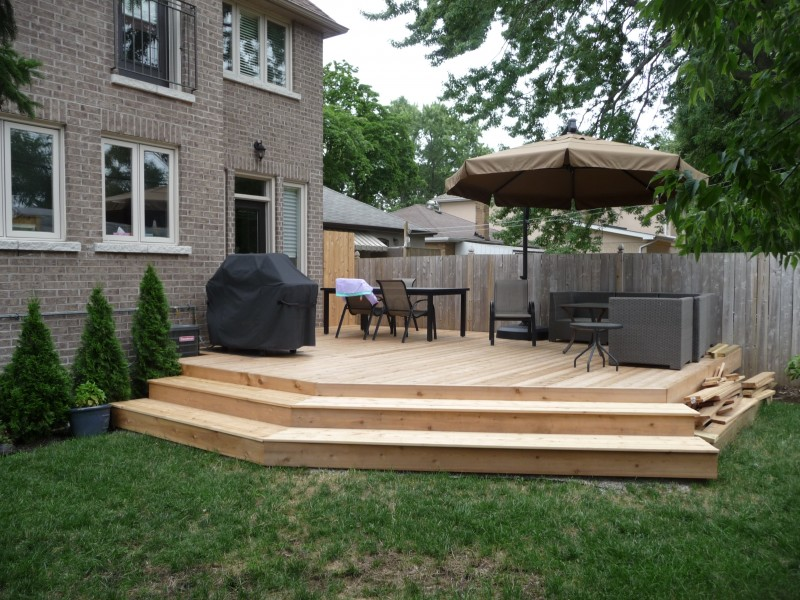 What The Client's Backyard Cedar Deck Looked Like Before