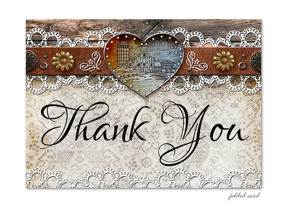Rustic Barn Lace Folded Thank You Card Odd Lot Paperie