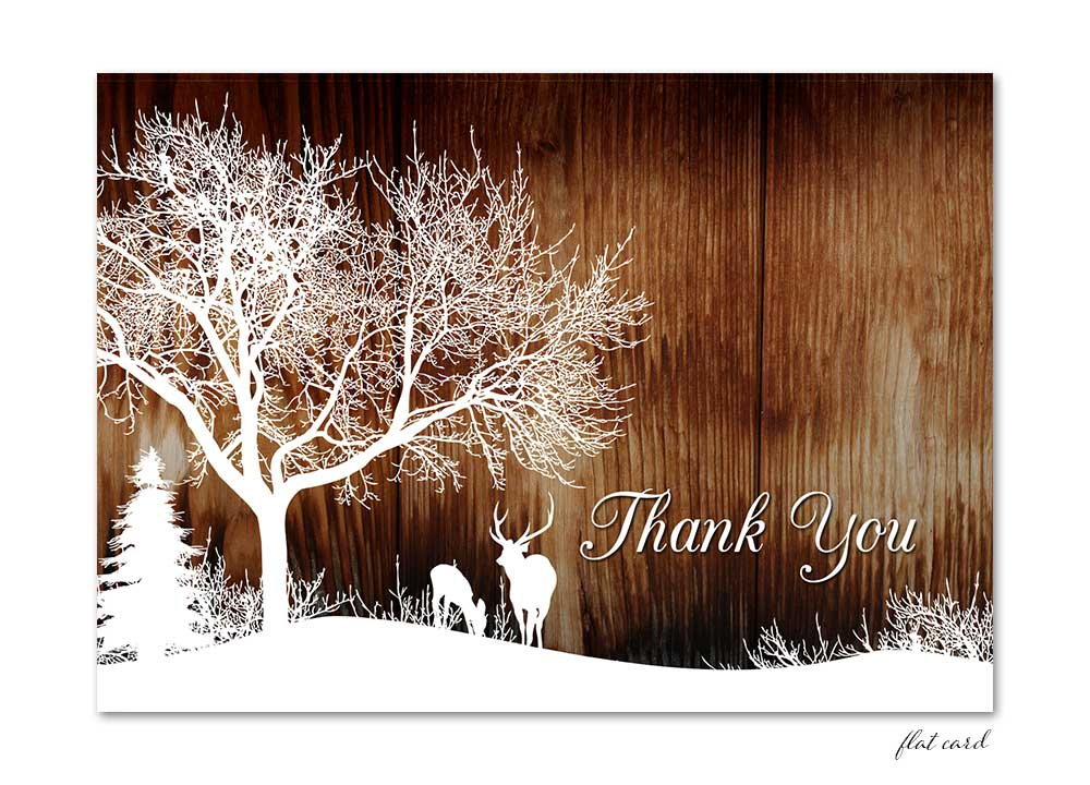 Winter Deer Flat Thank You Card Wood Odd Lot Paperie