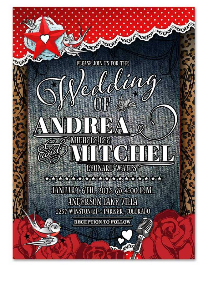 Denim Lace Polka Dot Wedding Invitation