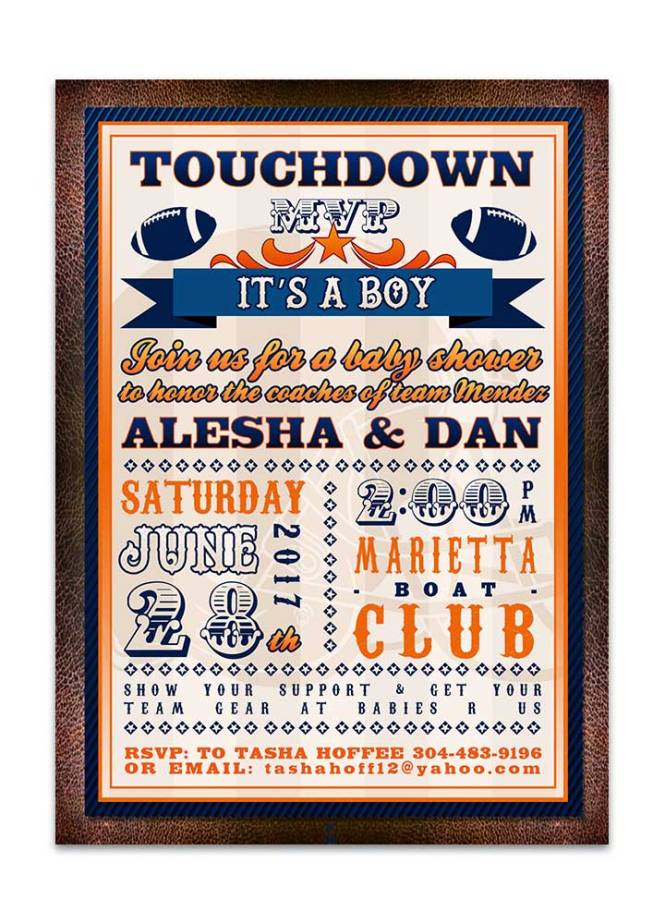 Football Themed Baby Shower Invitation Odd Lot Paperie