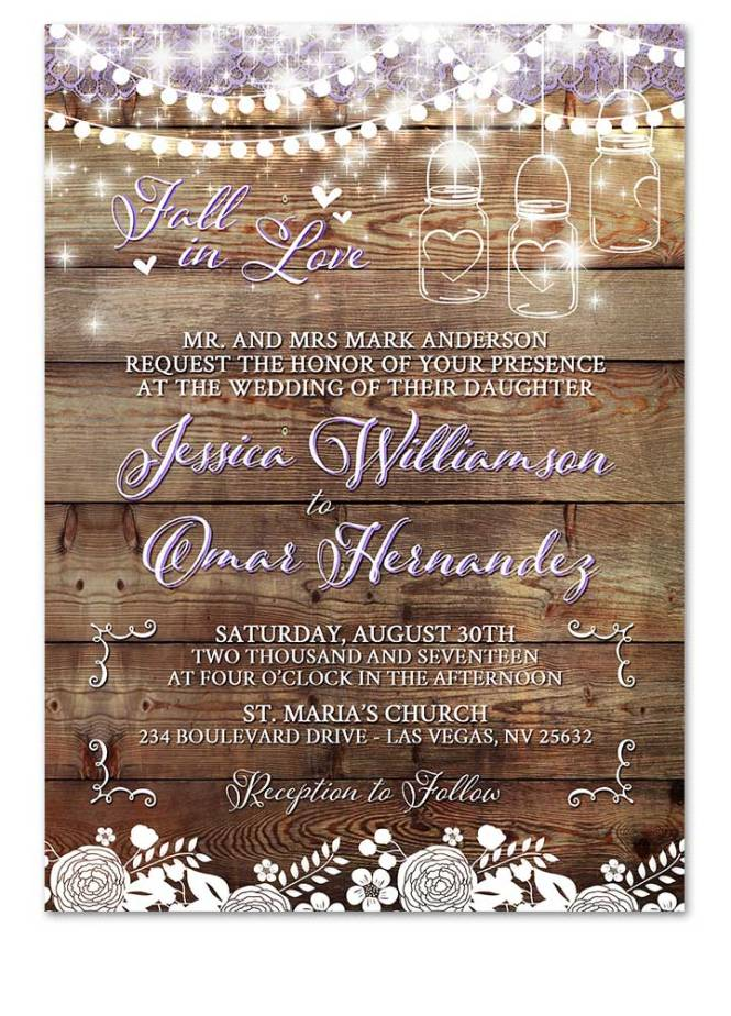 Mason Jar Wedding Invitation For Rustic