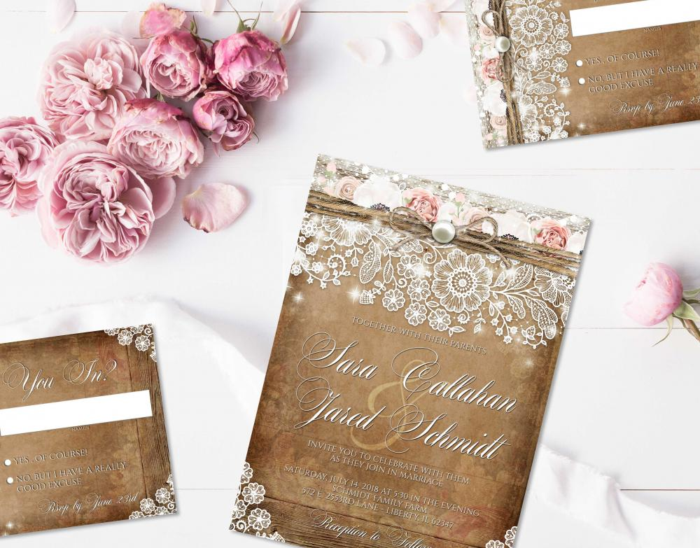 Rustic Lace Blush Pink Rose Wedding Invitations For