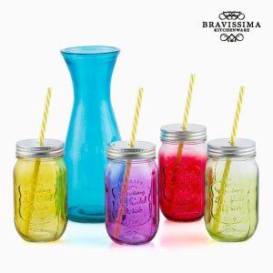 Vintage-Colors-Pullo-ja-4-Lasipurkkia-1