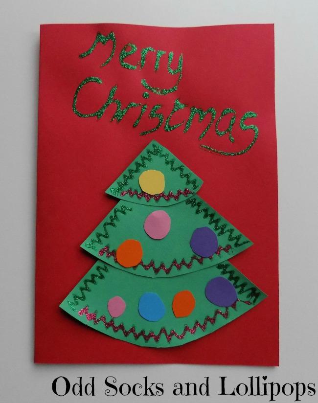 Christmas Tree Christmas Cards for toddlers to make
