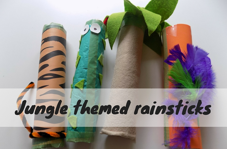 Jungle themed rain sticks odd socks and lollipops for Easy rain stick craft