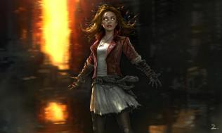 Concept art of Elizabeth Olsen as Scarlet Witch in AVENGERS: AGE OF ULTRON