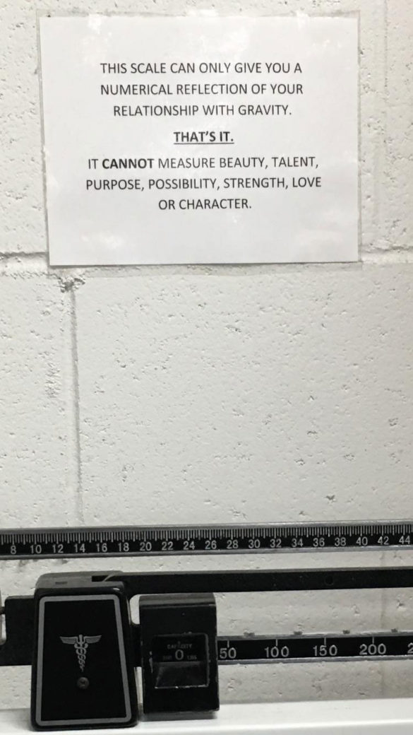 Poster behind the scales at my gym