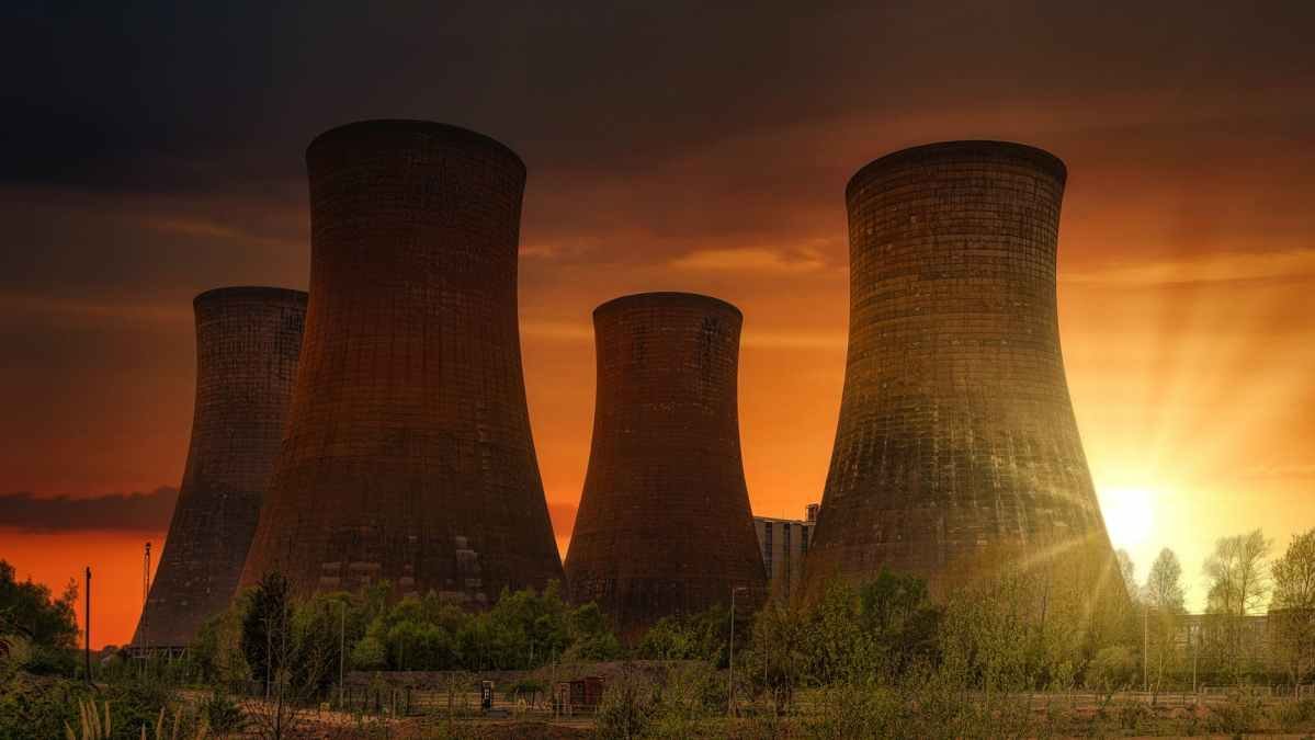 huge cooling towers in nuclear power plant