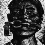 Адольфо Мехиак. «Свобода слова». Гравюра на линолеуме. 1954 г.