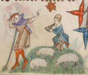 Two shepherds (Fol. 87v) in the Luttrell Psalter (British Library MS Add. 42130), c. 1325-1335