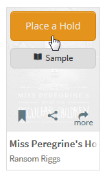 Screenshot of the Place a Hold button