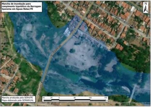 Locais em Santana do Ipanema que seriam atingidas, em caso de inundação