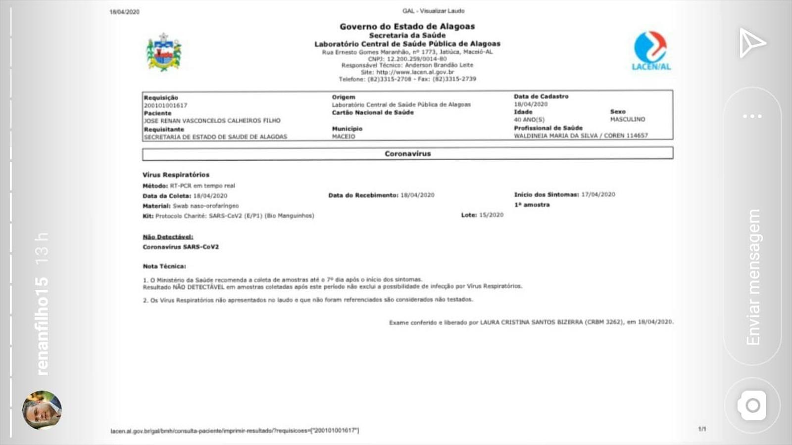 Exame do governador de Alagoas, Renan Filho, deu negativo para Covid-19 - Foto: Reprodução/Instagram