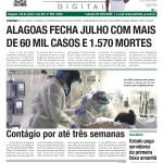 ALAGOAS FECHA JULHO COM MAIS DE 60 MIL CASOS E 1.570 MORTES