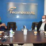 Prefeitura de Palmeira pede apoio da Fecomércio e do Sindilojas para reabertura do Comércio