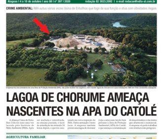 LAGOA DE CHORUME AMEAÇA NASCENTES NA APA DO CATOLÉ