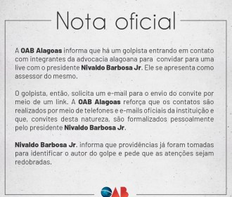 Nota oficial: OAB informa que há um golpista se passando por assessor do presidente da entidade