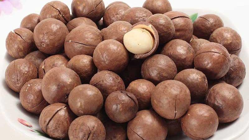 Hạt mắc ca Úc thường được được tách vỏ sẵn và sấy khô