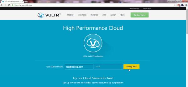 VULTR new user registration