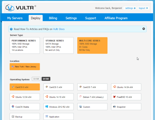 Vultr VPS deploy multi-core series