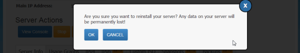 Reinstall your VPS
