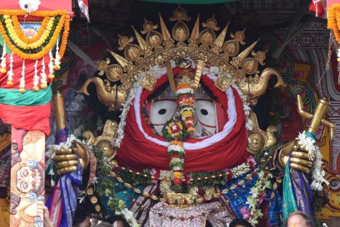 Suna Besha of Lord Balabhadra in Taladhwaja Rath at Puri