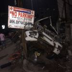 Mangled remains of an SUV after an accident near airport square in Bhubaneswar late on Saturday night. A luxurious car of Audi make was also damaged in the accident.