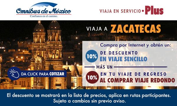 boletos de autobus a zacatecas con Omnibus de México