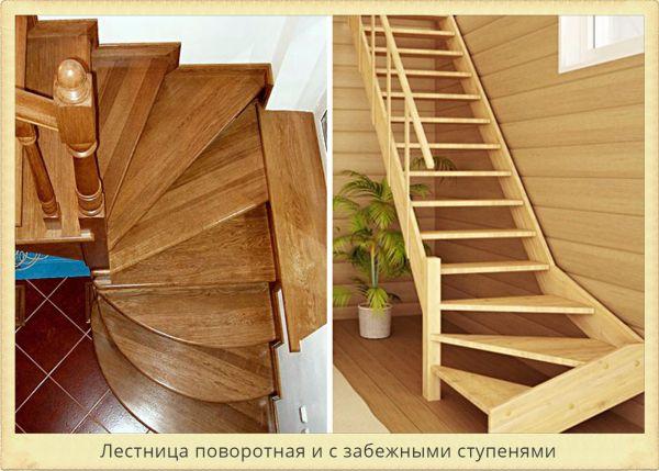 Лестница с забежными ступенями и поворотная