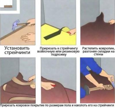 укладка напольного покрытия, ковролин