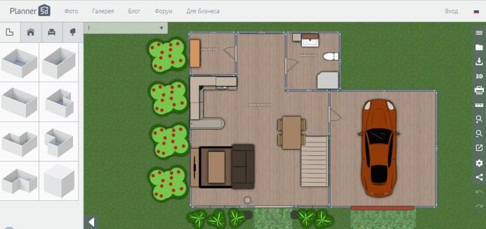 Планировка дома в онлайн-программе