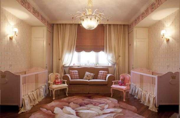 комната для новорожденных, две кроватки