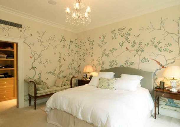 стены в спальне в бежевых тонах