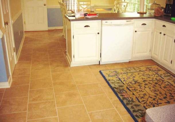 Полы на кухне из керамической плитки