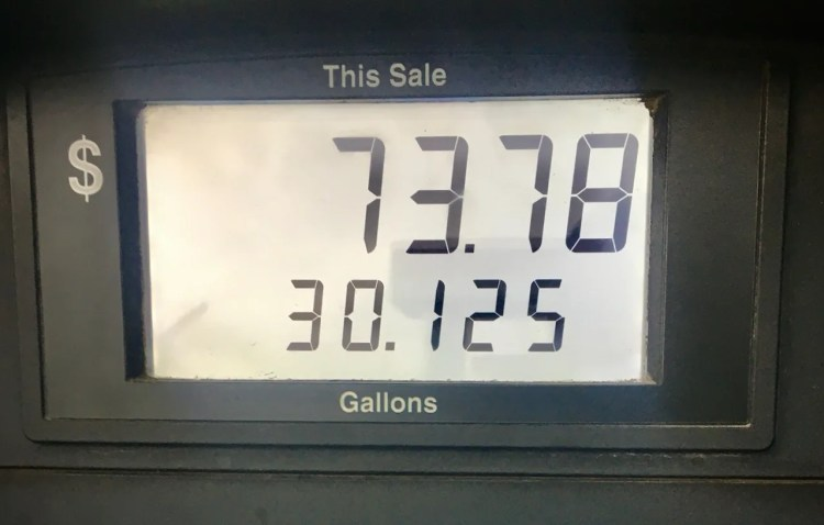 Filling up in Albuquerque cost $73.78 for 30.125 gallons.