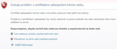 Chyba certifikátu Internet explorer