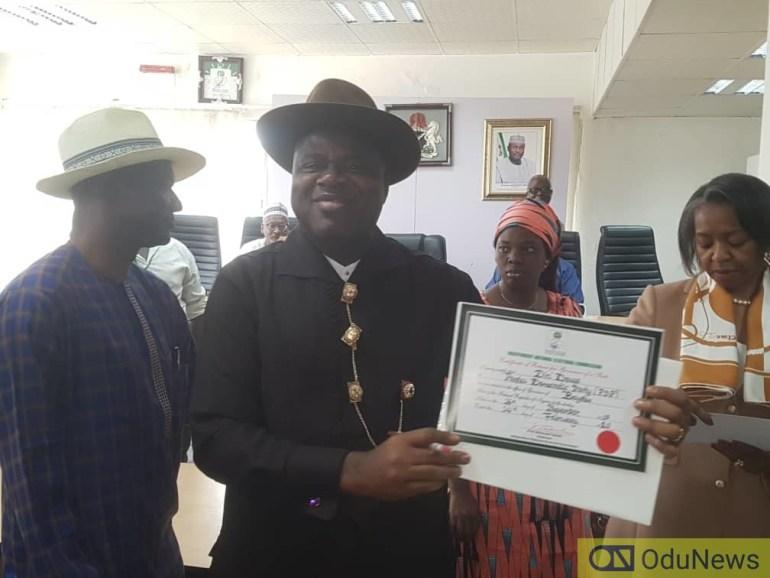 [BREAKING] Bayelsa: INEC Presents Certificate Of Return To PDP's Diri Duoye
