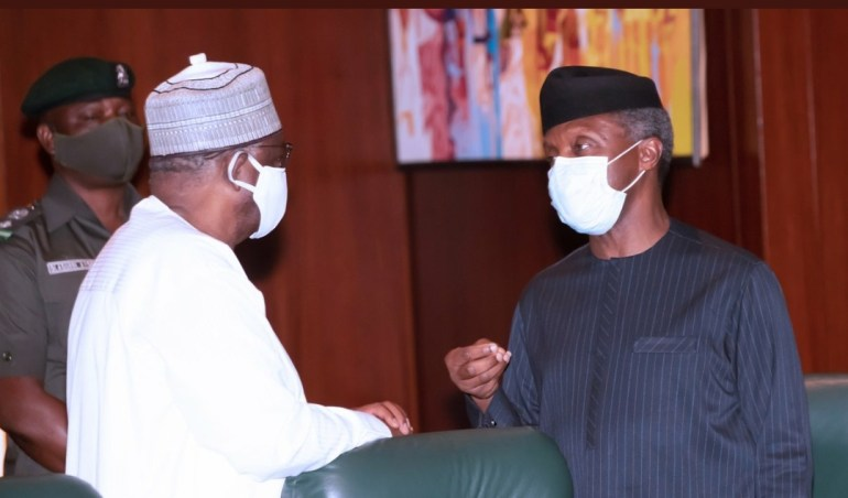 President Buhari Pictured With VP Osinbajo As They Hold Virtual Meeting With PEAC