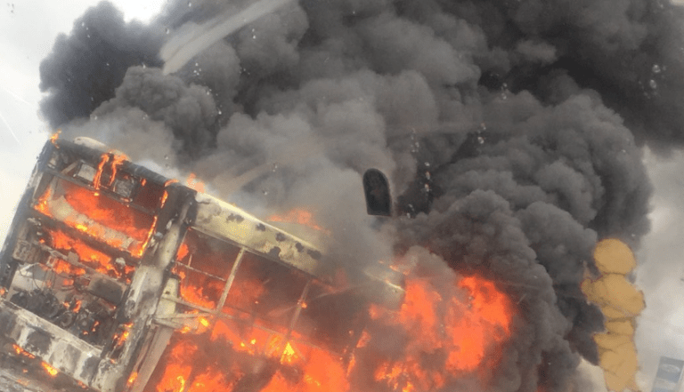 JUST IN: Bus Catches Fire On Third Mainland Bridge