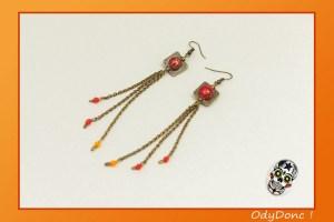 Boucles d'Oreilles Ethniques Romantique Boucles Pendantes Pendentif Carré Bronze Rouge Orange