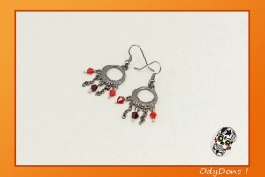 Boucles d'Oreilles Ethnique Minimaliste Boucles Pendantes Tendances Noir et Rouge