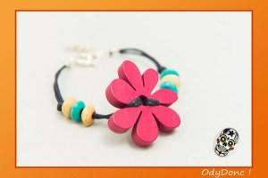 Bracelet Minimaliste Bijou Enfant Tendance Fantaisie Pendentif Bois Fleur Rose