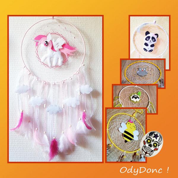 Attrape Rêves Dreamcatcher Capteur de Rêves Personnalisable Mobile Bébé Décoration Enfant Animal en Feutrine Choix COULEURS et ANIMAL
