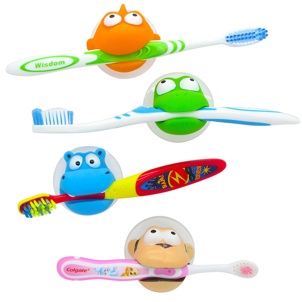 Hurley Hippo & Friends Kids Toothbrush Holder Set